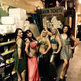 Backstage during one of the weekly shows at Red Dragon! Nickie B and I had already changed, miss Farasha, Sue and Diane are ready to raq!